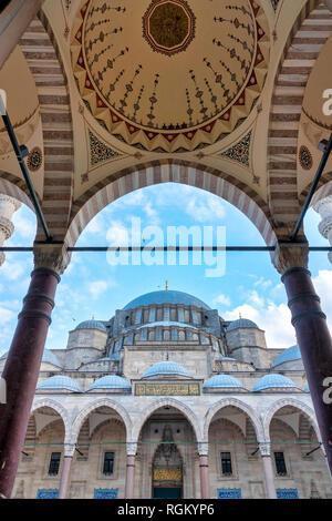 Courtyard of Suleymaniye Mosque, Istanbul, Turkey - Stock Image