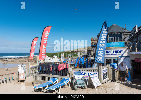 Surf Hire at Fistral in Newquay in Cornwall. - Stock Image