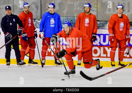 Bratislava, Slovakia. 15th May, 2019. Czech player Radek Faksa (center) attends a training session of the Czech national team within the 2019 IIHF World Championship in Bratislava, Slovakia, on May 15, 2019, one day prior to the match against Latvia. Credit: Vit Simanek/CTK Photo/Alamy Live News - Stock Image