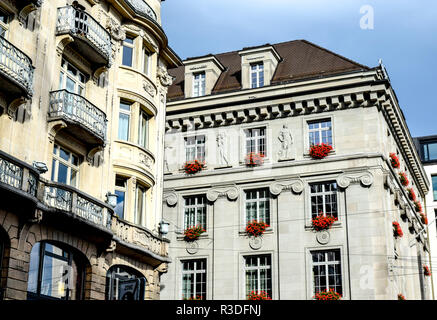 Ornate building facades with decorative sculptural elements are examples of the European-style architectural elegance in Lucerne, Switzerland. - Stock Image