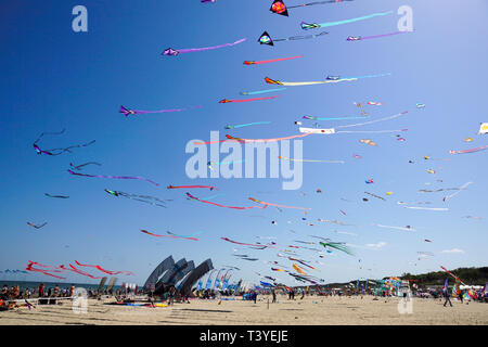 CERVIA, ITALY - MAY 1: Sky full of kites for International Kite Festival on May 1, 2010 in Cervia, Italy. This Festival brings together kite flyers fr - Stock Image