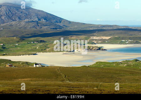 Scenic view across Uig Bay and beach on the Isle of lewis in the Western Isles - Stock Image