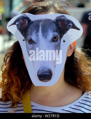 Glasgow, Scotland, UK. 13th July, 2019. The style mile of the city, Buchanan street, saw an animals right protest about the abuse of greyhounds in racing. Highlighting the relevant issues and wearing masks to humanise the animals. Credit: gerard ferry/Alamy Live News - Stock Image