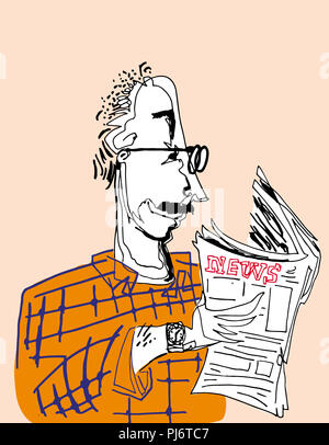 Reading newspaper.  An old man reading newspaper. illustration of reading. - Stock Image