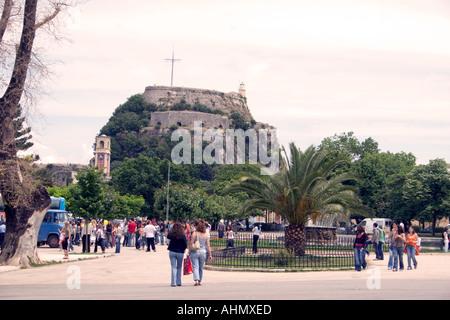 Spianada and Old Fortress, Kerkyra, Corfu, Greece, Europe, - Stock Image
