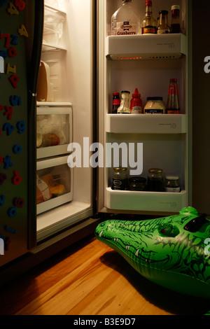 Inflatable crocodile series Midnight feast - Stock Image
