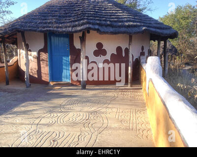 Traditional hut accommodation at Planet Baobab - Stock Image