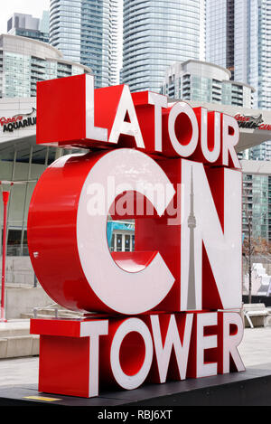 The sign for the CN Tower in Toronto Canada - Stock Image