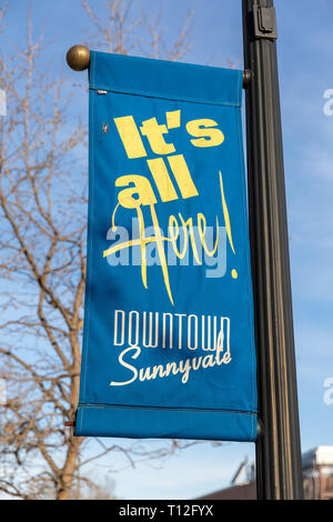 'It's all Here! Downtown Sunnyvale', banner on lamp post; Sunnyvale, California, USA - Stock Image