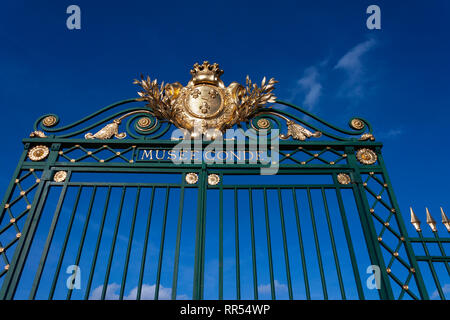 Gate to Musée Condé at Château de Chantilly in Chantilly, Oise, France - Stock Image