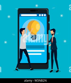 businessmen teamwork with smartphone and bulb idea - Stock Image