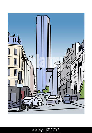 Illustration of Tour Montparnasse in Paris, France - Stock Image