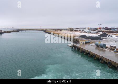Dockside at Vadsø, a port on the Hurtigruten Coastal Express route on the Norwegian coast. - Stock Image