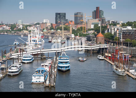 Elevated view of boats and buildings at NorderElbe, part of the waterfront at Hamburg, Germany. - Stock Image