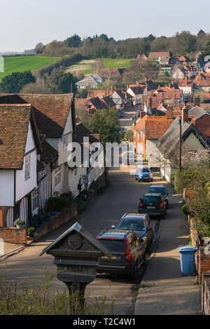 Kersey village, view of the Suffolk village of Kersey whose main road - The Street - is lined with well preserved medieval houses, Suffolk, England,UK - Stock Image