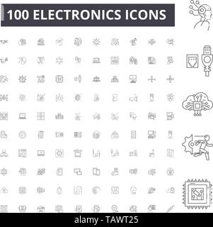Electronics line icons, signs, vector set, outline illustration concept  - Stock Image