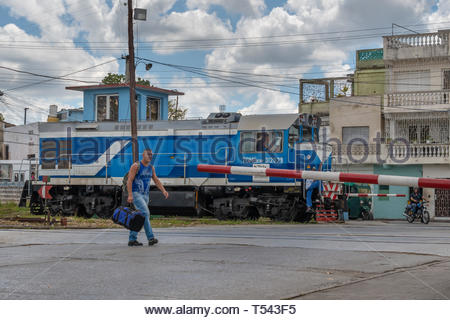One of the new Russian train engines arrived to the country.  The land vehicle is seen in the Marta Abreu train station during the day - Stock Image
