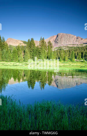 Mountain and pond, Crater Lake Trail, San Juan National Forest, Colorado USA - Stock Image