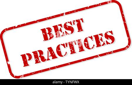 Best practises red rubber stamp vector isolated - Stock Image