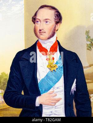 Prince Albert portrait (detail), after George Baxter, c. 1860 - Stock Image