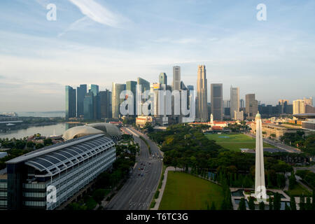 Panorama of Singapore business district skyline and Singapore skyscraper with War Memorial Park in morning at Marina Bay, Singapore. - Stock Image