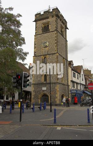 St Albans Clock Tower, Market Cross, St Albans, Hertfordshire, UK - Stock Image