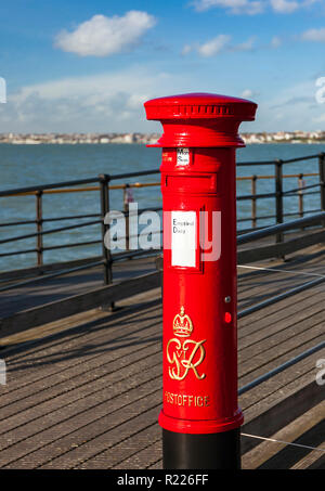 George VI Pillar Box on Southend Pier. - Stock Image