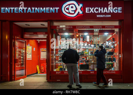 CEX,Entertainment Exchange,Mobile Phone,Laptop,Camera,DVD,Films,Games Console,High Street,Store - Stock Image