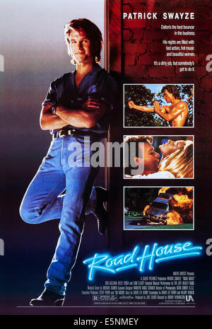 ROAD HOUSE, US poster, Patrick Swayze (left and front right), 1989, © United Artists/courtesy - Stock Image