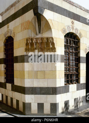 Syria. Damascus. (Ancient City). Azam Palace. It was built in 1749-1752. Private residence for As'ad Pasha al-Azm, governor of Damascus. Ottoman style. Architectural detail. Stonework in the facade. - Stock Image