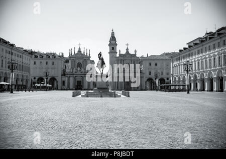 Piazza San Carlo is one of the main city squares in Turin. The equestrian statue of Emmanuel Philibert, Duke of Savoy is central. Italy, Europe. - Stock Image
