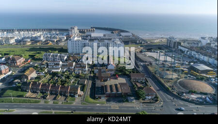 Aerial view of Brighton marina in Southern England - Stock Image