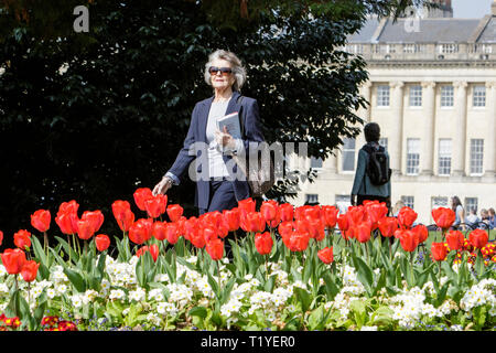 Bath, Somerset, UK, 29th March, 2019. A woman enjoying the warm sunshine is pictured walking past colourful Tulips in Royal Victoria Park. Credit:  Lynchpics/Alamy Live News - Stock Image