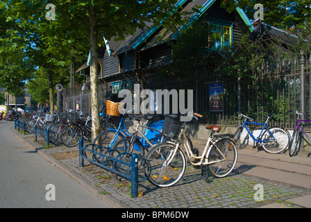 Parked bicycles tietgensgade outside the Tivoli central Copenhagen Denmark Europe - Stock Image