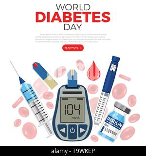 Control your Diabetes concept. World diabetes day. Blood glucose meter, insulin pen syringe, red blood cells and vial. isolated vector illustration - Stock Image