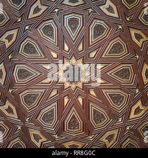Closeup of arabesque ornaments of old aged decorated minbar of Sultan al Nasir Muhammad ibn Qalawun Mosque, Old Cairo, Egypt - Stock Image