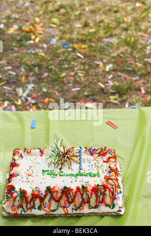 Close-up of a birthday cake on a table - Stock Image