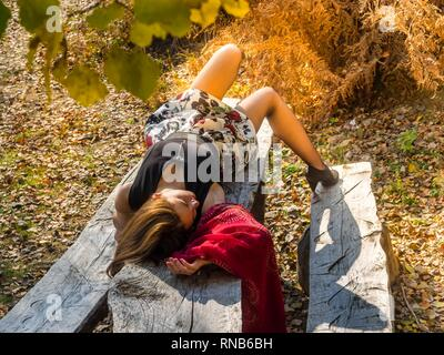 Pretty teen girl legs tights - Stock Image