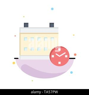 Calendar, Day, Date, Education Abstract Flat Color Icon Template - Stock Image