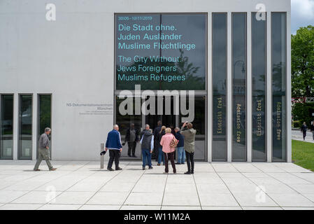 Munich, Bavaria, Germany - May 18, 2019. Tourists entering the N-S documentation center for the history of national socialism. - Stock Image