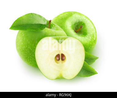 Isolated apples. Two green apples and a half isolated on white background with clipping path - Stock Image