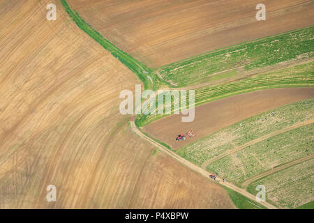 Aerial View Of Farm With Tractor - Stock Image