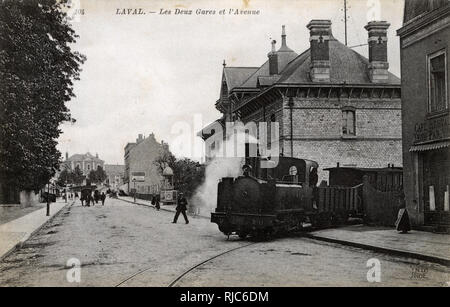 Laval, France - The Two Railway Stations and the Avenue. - Stock Image