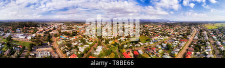 Town centre of Cessnock remote regional settlement in Hunter Valley of Australia. Wide aerial panorama over popular wine making region above streets,  - Stock Image