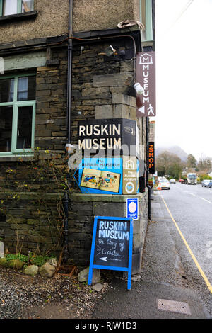 The Ruskin Museum, Coniston, Lake District, Cumbria, England. Dedicated to John Ruskin and Donald Campbell. - Stock Image