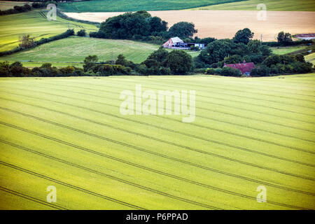 Beautifully prepared farmland below Firle Beacon in East Sussex, England - Stock Image