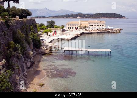 Restaurant on a peninsula in the Ionian Sea Kerkyra Corfu - Stock Image