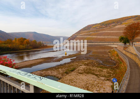 Nahe mouth into Rhine with low water. Bingen, Rhineland Palatinate, Germany. - Stock Image