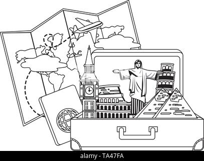 landmarks design, Travel trip vacation tourism journey and tourist theme Vector illustration - Stock Image