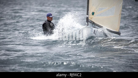 Spanien, Barcelona, Finn World Masters, Segelwettbewerb, El Balis, Club Nautico - Stock Image